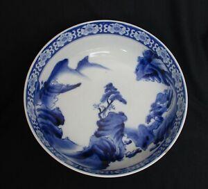 Antique-Japan-Aoki-Company-Arita-Export-Porcelain-Indigo-Blue-White-Glazed-Bowl