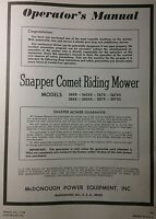 Snapper Comet Riding Lawn Mower Tractor Owner & Parts Manual 8pg 1970 305x 307xs