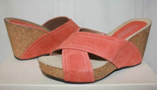 Cordani Adriana Cork Wedge Sandals Papaya Orange Suede Coral New With Box!