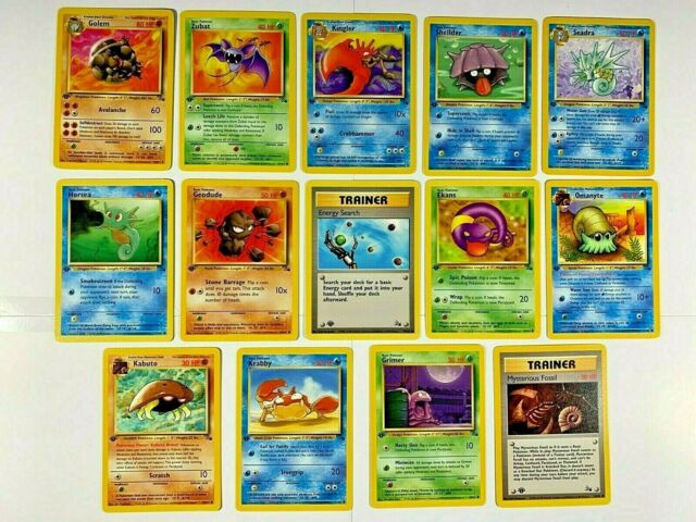 First Edition POKEMON 14 Card Lot Fossil Set HIGH GRADE 1999 1st Ed. TCG Wizards