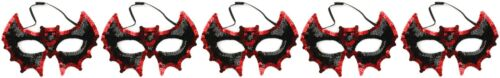 Zest 5 sequinned Bat máscaras faciales Fiesta De Halloween Negro Y Rojo