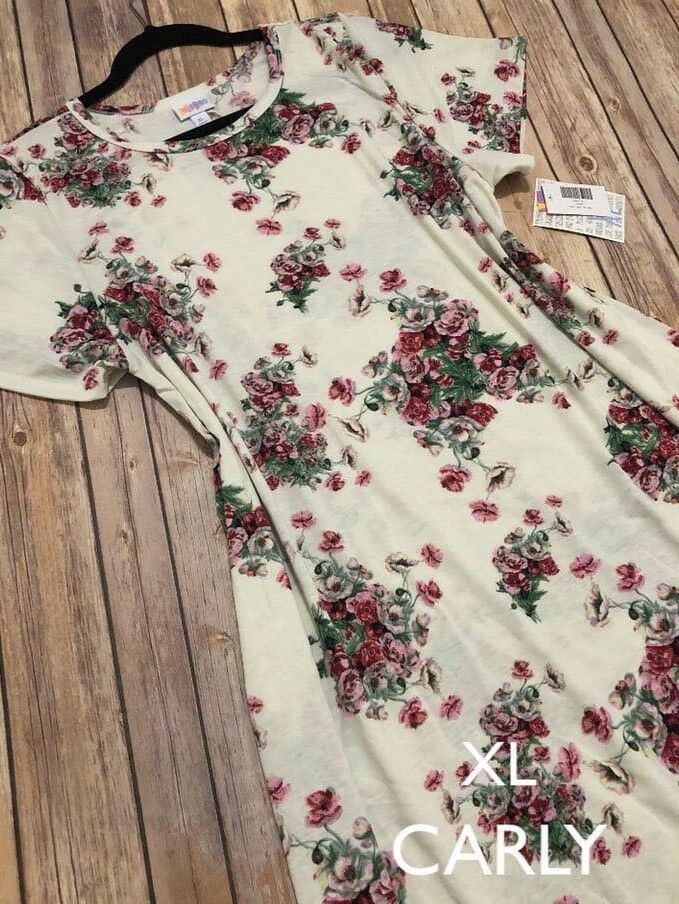 NWT LuLaRoe L CARLY DRESS Weiß Rosa rot RosaS FLORAL GORGEOUS RARE EASTER