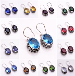 925-Sterling-Silver-Overlay-Earrings-Handcrafted-Gemstone-Women-Jewelry-PE1