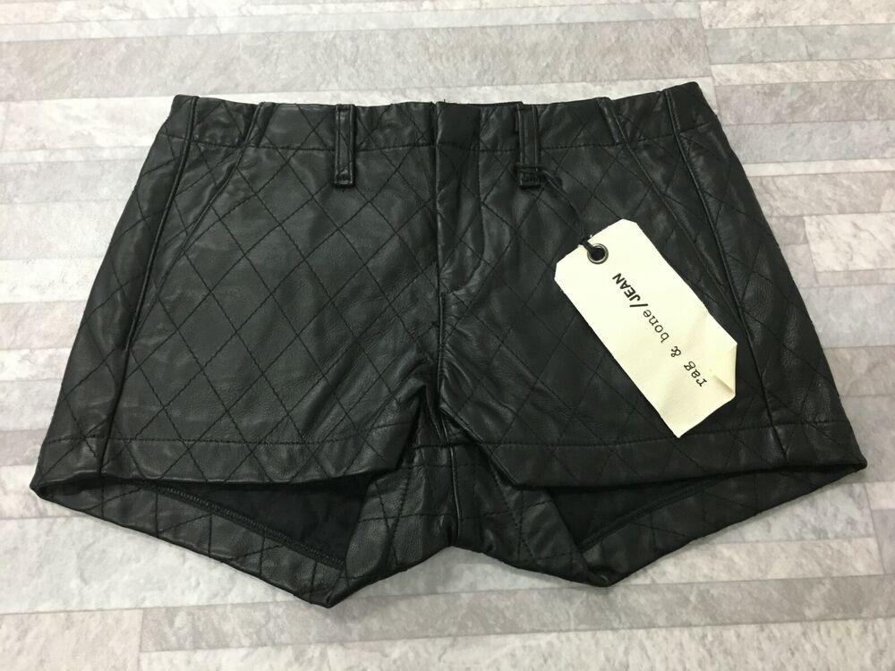 Nwt Rag & Bone Véritable Matelassé Cuir Noir Short Taille: 24