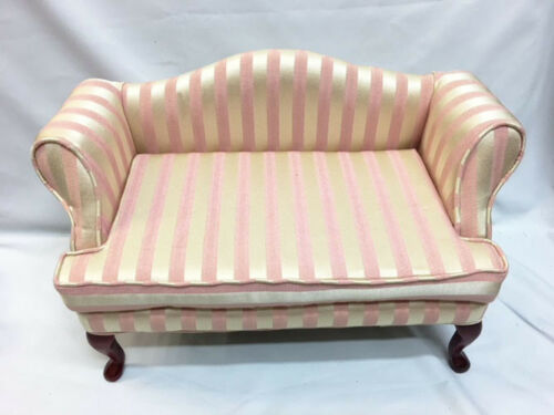 New VICTORIAN UPHOLSTERED Pink Striped Satin DOLL Or BEAR Display SOFA COUCH