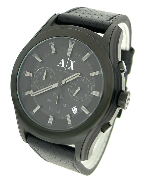 843418985a6 Armani Exchange Black Perforated Leather Blackout Gunmetal Chrono Watch  AX2073