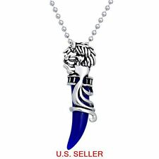 Stainless Steel Tribal Wolf  vivi blue Tooth Pendant Necklace 1.96 ft Ball chain
