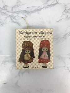 Vintage-Magnetic-Memo-Hold-Us-Refrigerator-Magnets-Handmade-Dolls-Set-of-2-O1