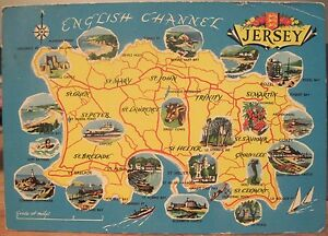 image is loading uk postcard jersey channel islands pictorial map cartoon