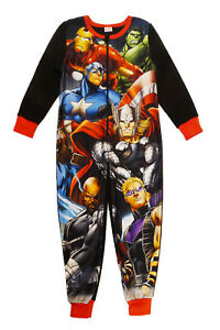 Official Licensed Marvel Spider-Man Or Avengers Kids Fleece All In One Pyjamas