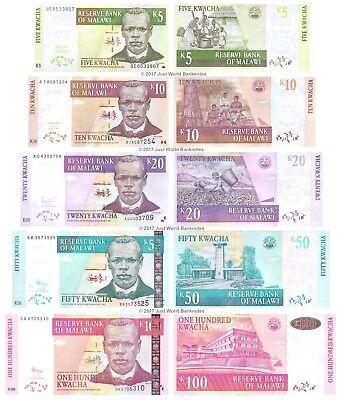 Malawi 5 10 20 50 100 kwacha 2004-11 set of 5 Uncirculated