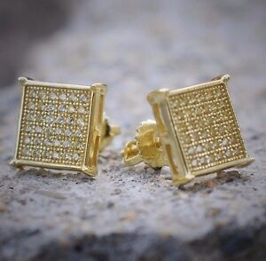 products in earrings anygolds set diamond earring square shaped solid screw gold pave back