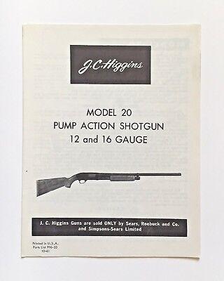 Original 1961 JC Higgins 20 12 16 Ga Pump Action Shotgun Manual 583 Models EBay