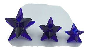 COBALT-BLUE-VINTAGE-SET-OF-THREE-GEOMETRIC-STAR-SHAPED-CANDLE-HOLDERS