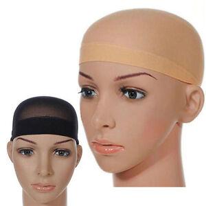 2x-Elastic-Unisex-Stocking-Wig-Liner-Cap-Snood-Nylon-Stretch-Mesh-Black-BeigPLCA