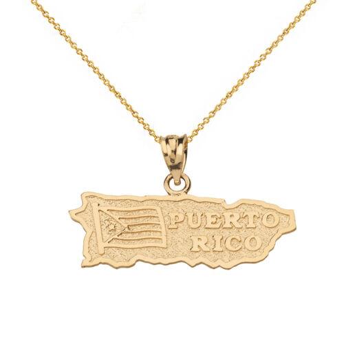 14k solide or jaune Puerto Rico Carte Drapeau Collier Pendentif