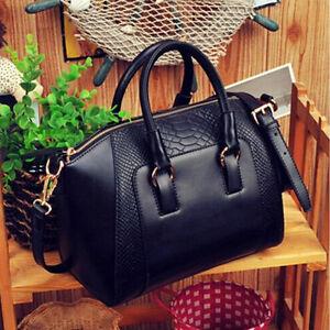 Women Satchel Crossbody Shoulder Bag Handbag PU Leather Tote Handbag Purse Black
