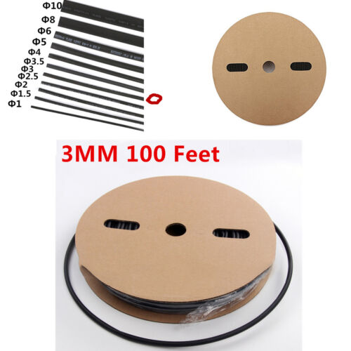 2 : 1 Heat Shrink Tubing 100 FT. 100 Feet BLACK 1/8 /3mm Polyolefin - BLACK