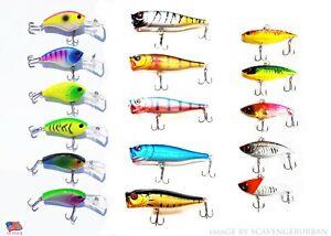 USA LOT OF 15 FISHING LURES TOP WATER POPPER CRANKBAIT HARD SWIMBAIT  WOBBLER