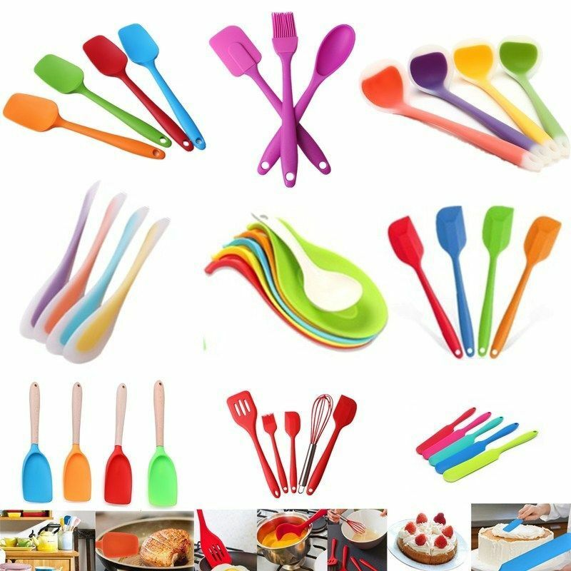 Jiasitemeijia Kitchen Silicone Mixing Spoon Multicolored Cooking Utensil for Mixing /& Serving,Pink