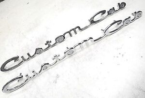 61 62 63 64 65 66 Ford Truck Custom Cab Door Emblems Script Pair New Ebay
