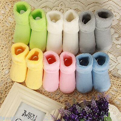 Non-slip Toddler Baby Booties Shoes Socks Boys Girls Pure Plain Winter Socks