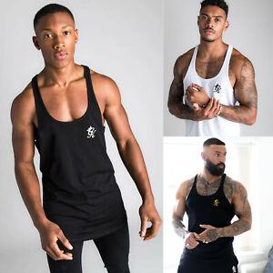 Gym-King-Mens-Designer-High-Build-Stringer-Vest-Sleeveless-Tank-Top-T-Shirt-Tee