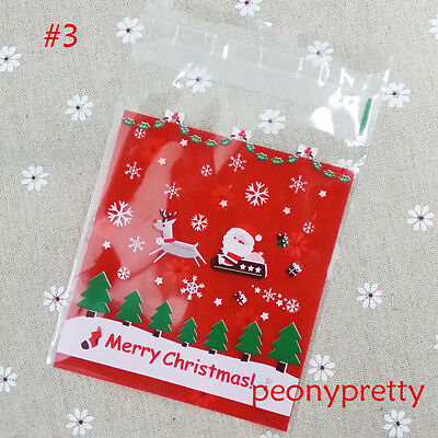 Xmas santa cello cellophane cookie candy treat bags peel N seal party 3 designs