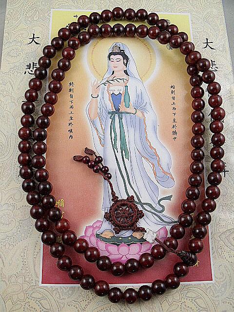 10mm Tibet Buddhism 108 red sandalwood Prayer Bead Mala Necklace