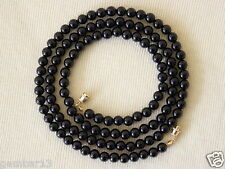 """Genuine Natural 6mm Black Onyx Beads necklace 30"""" 6 mm Black Onyx Beads"""