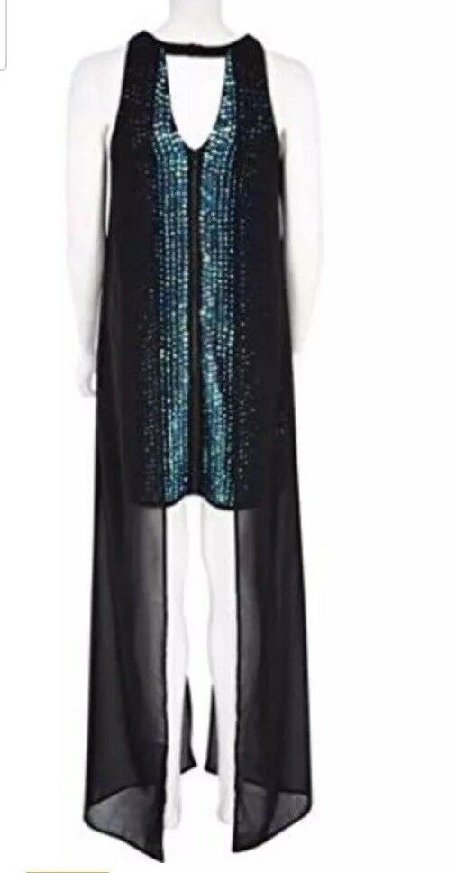 New River Island bluee Sequin Sheer Overlay Dress -Size 6 - Christmas Party Prom