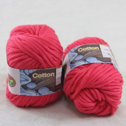 Sale 2 Balls x50gr Soft Cotton Chunky Super Bulky Hand Knitting Crochet Yarn 16