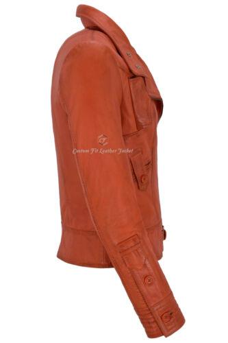 in in Designer Lambskin Biker stile Supermodel Real 4110 pelle donna arancio Giacca da 6OXwxqd6BY