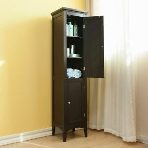 Image Is Loading Espresso Finish Linen Tower Bathroom Towel Storage Cabinet