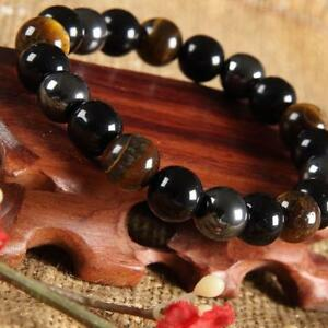 Unisex-Tiger-Eye-Hematite-Black-Obsidian-Natural-Stone-Bracelet-Gifts-10mm