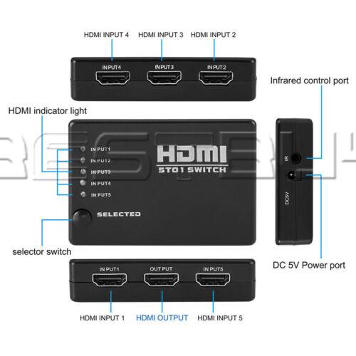 3//5 Port 1080P HDMI Switch Selector Switcher Splitter Hub+Remote for HDTVATF