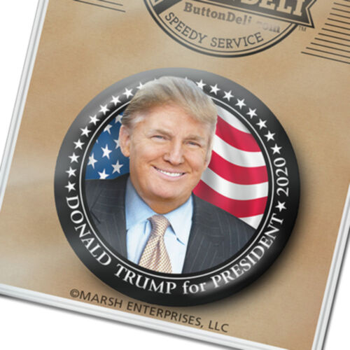 "American Flag /& Black Star Border pinback 2020 Donald Trump 3/"" photo button"