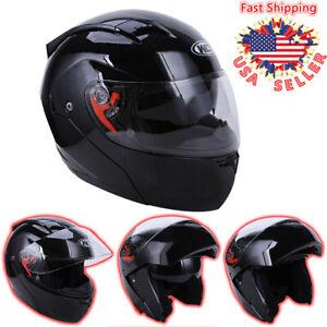DOT Flip up Visor Modular Full Face Motorcycle Sport Bike Racing Helmet Black