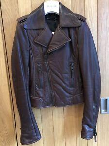 a7db0cfe26ae Image is loading Balenciaga-2009-Mogano-Brown-Leather-Biker-Jacket-Size-