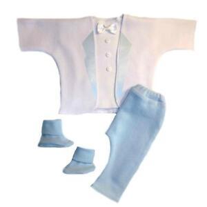 d3e67a404 Details about Dashing White and Blue Baby Boy 4 Piece Tuxedo Suit - 5 Preemie  Newborn Sizes