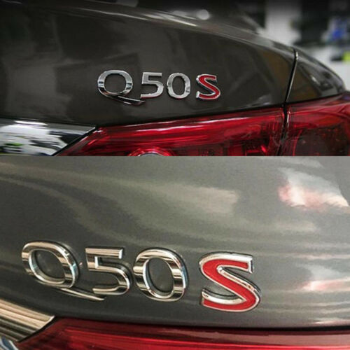 3D Red S Letter Logo Car Emblem Trunk Lid Decal Badge For Infiniti Q50 Q60 Q70