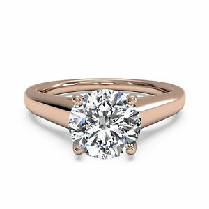 Helpful 1.00 Ct Diamond Solitaire Solid 14k Rose Gold Engagement Rings Size N M J K I O Fine Jewelry