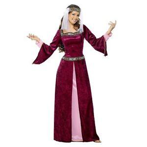 Damas-MEDIEVALES-Tronos-DONCELLA-Marion-largo-vestido-rosa-Burdeos-Rojo-Disfraz