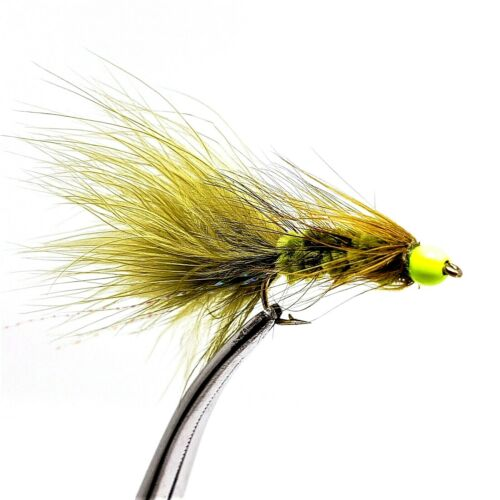 6 Flies Hot Spot Black Woolly Bugger Chartreuse Bead Head 1//2 Dozen