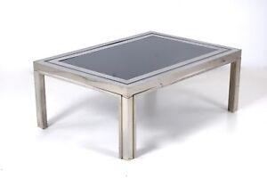 Tavoli In Acciaio E Cristallo.Tavolo Tavolino Basso Design Anni 70 Acciaio E Vetro Fume Ebay