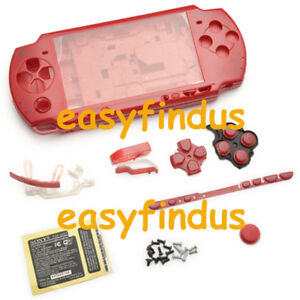 PSP-2000-Slim-Full-Housing-Shell-Case-repair-parts-replacement-button-screw-red