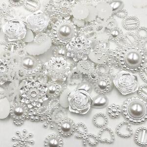 100pc-Resin-Round-flower-Bow-Alien-Pearls-For-Art-Flatback-Non-Rhinestones