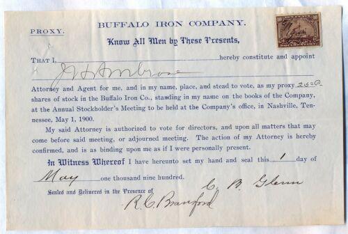 Buffalo Iron Company Stock Bond Certificate Nashville Tennessee Revenue Stamp