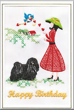 Hungarian Puli Birthday Card Embroidered by Dogmania - FREE PERSONALISATION