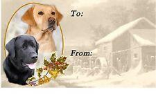 Labrador Retriever Christmas Labels - Black & Yellow - by Starprint Design No 4